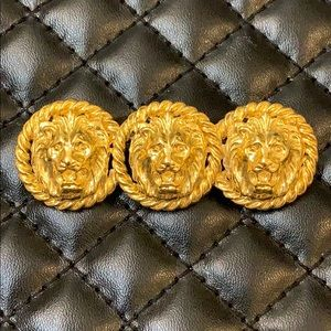 Vintage Jewelry - Designer Vintage Gold Lion Head Brooch Bar